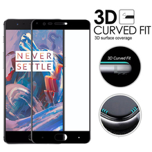3D Screen Printing Tempered Glass For One Plus OnePlus 3 3T Three 1+3 1+3T Full Cover 3D Curved Edge Surface Screen Protector