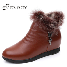 Winter boots New fashion women boots genuine leather shoes height increasing shoes platform flats ankle boots for women M3.5