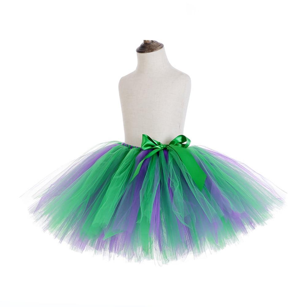 Rainbow Skirt Knee Length Nylon Mesh Tulle Skirt Kids Back to School Costume Happy Easter Party Tutu Skirt with Ribbon Bowknot (16)