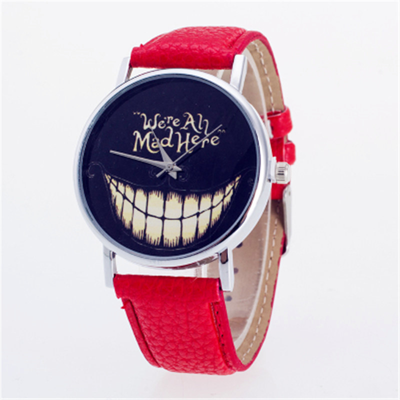 Watch Women Clock Men Leisure Time Faux Leather Analog Smiling Face Wrist Watch Elegant Popular Wrist Watch Gift Relogio feminin