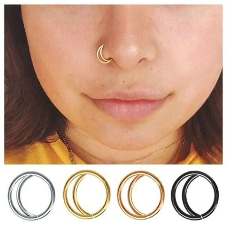 Stainless Steel Nose Ring Beads Nostril Hoop Nose Earring Piercing JewelrySETC