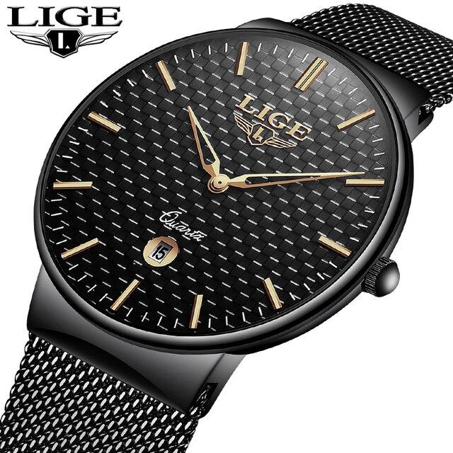 Lige Men's Watches New Luxury Brand Watch Men Fashion Sports Quartz Watch Stainless Steel Mesh Strap Ultra Thin Dial Date Clock by Lige