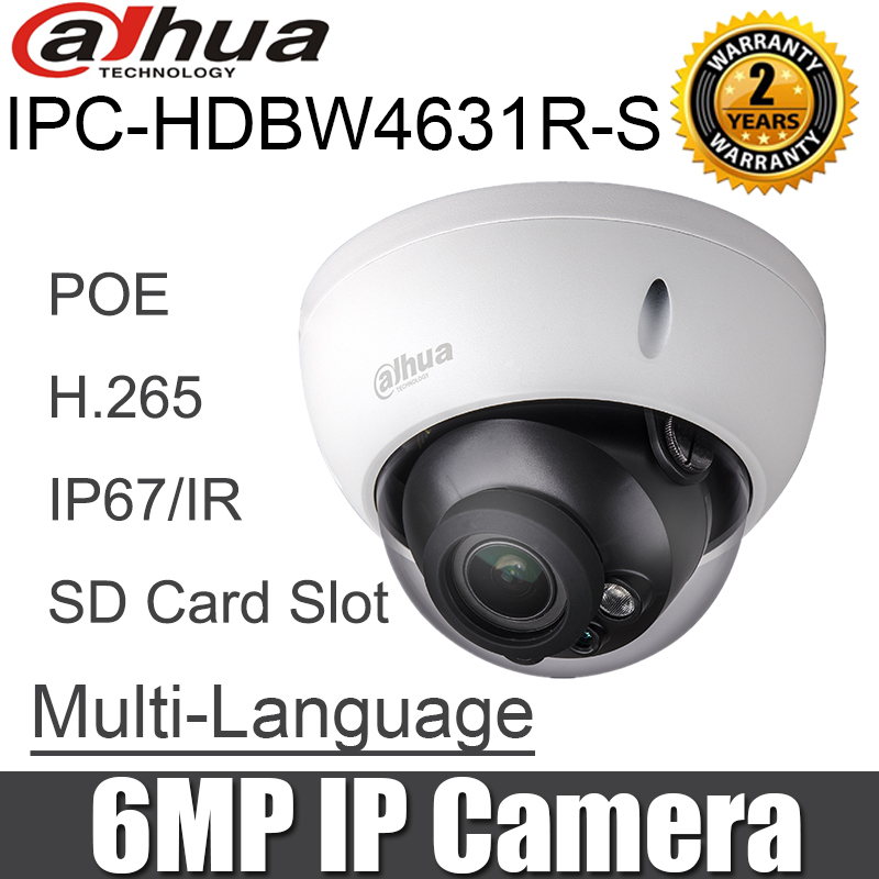 Dahua Original IPC HDBW4631R S 6MP IP Camera H 265 IK10 IP67 30m IR SD Card