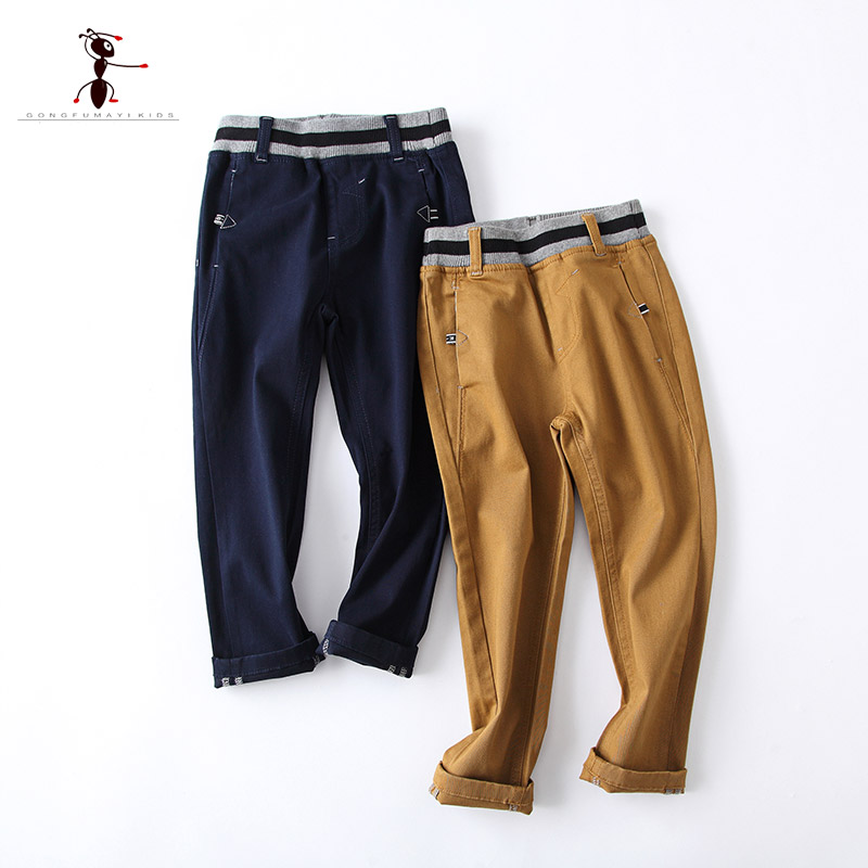 Kung Fu Ant Autumn Pants for Boys Pockets Cotton Kids Children Casual Trousers Embroidered Flares Solid 73401 contrast stitching embroidered pants
