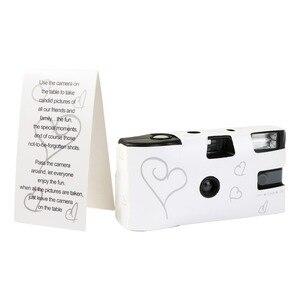 Image 4 - بسعر الجملة 5 مجموعات للاستخدام مرة واحدة كاميرا زفاف يمكن التخلص منها 36 صورة فضية قلب مضحك مع فلاش وبطاقة طاولة
