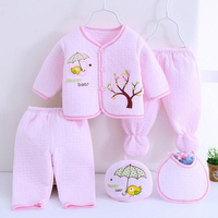 0-3M Newborn sets Baby suits 5pcs/set  Autumn Winter warm Cotton tree bear infant kids clothes Good quality Baby Accessories
