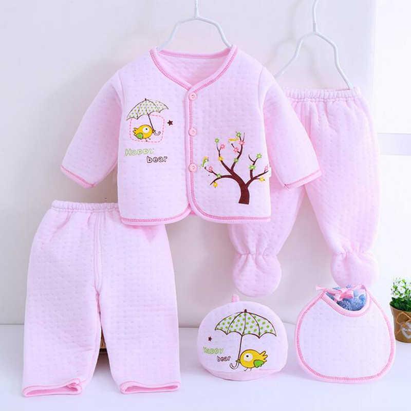 be4e7c28dc3 0-3M Newborn sets Baby suits 5pcs/set Autumn Winter warm Cotton tree bear
