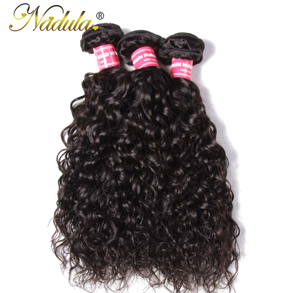 Nadula Hair 3piece Brazilian Hair Water Wave Bundles 8 26inch Remy Human Hair Weaves Natural Color