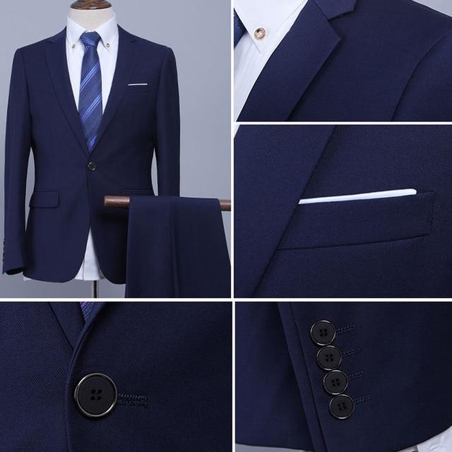 (Jacket+Pant+Tie) Luxury Men Wedding Suit Male Blazers Slim Fit Suits For Men Costume Business Formal Party Blue Classic Black 3