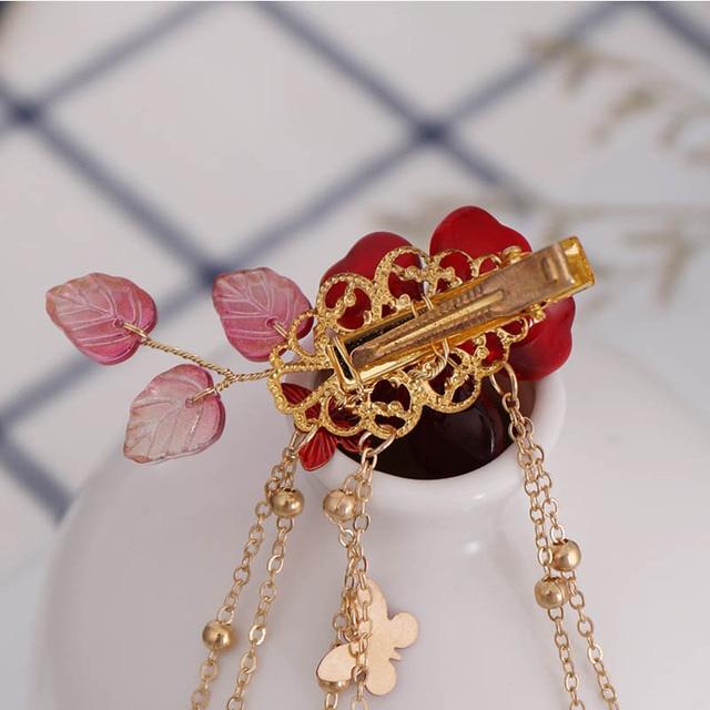 1 paire exquise perle cristal rouge fleur pince à cheveux rétro chinois robe chapeaux Long papillon gland chaîne épingles à cheveux mariée diadème