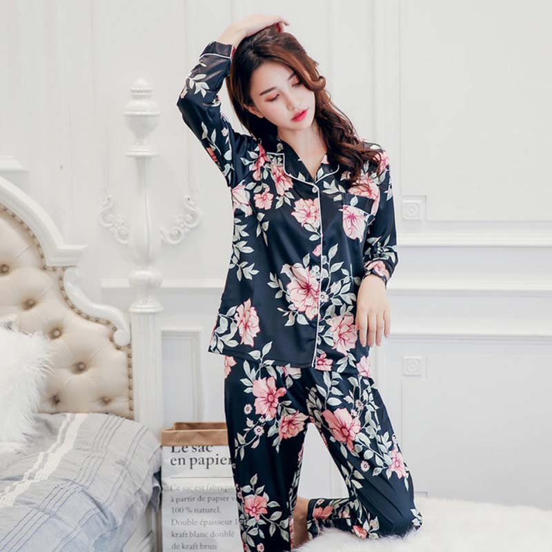 KISBINI 3XL Women Silk Stain Flower Printed Pajamas Sets Long Sleeves Shirt Blouse+Pants 2PCS Smooth Womens Pyjamas Homewear