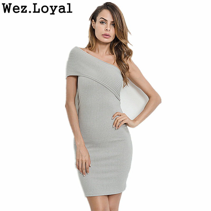 Wez.Loyal Sexy Bodycon Dress Off Shoulder Short Patchwork Slim Casual Women Dresses Elegant Sweater Knitted Party Dress Vestidos