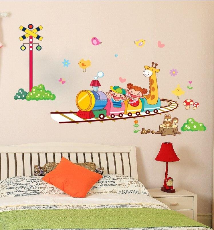 Ay764 Cartoon Giraffe Small Train Children Baby Room Decoration Painting Wall Wallpaper Combination Kindergarten In Stickers From Home Garden On