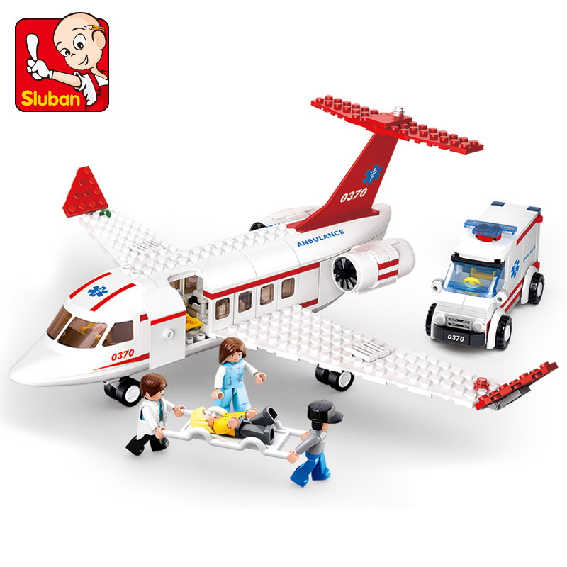 Sluban 0370 City Aircraft Medical Air Ambulance Figure Blocks Compatible Legoe Construction Building Bricks Toys For Children waz compatible legoe city lepin 2017 02022 1080pcs city 50th anniversary town figure building blocks bricks toys for children