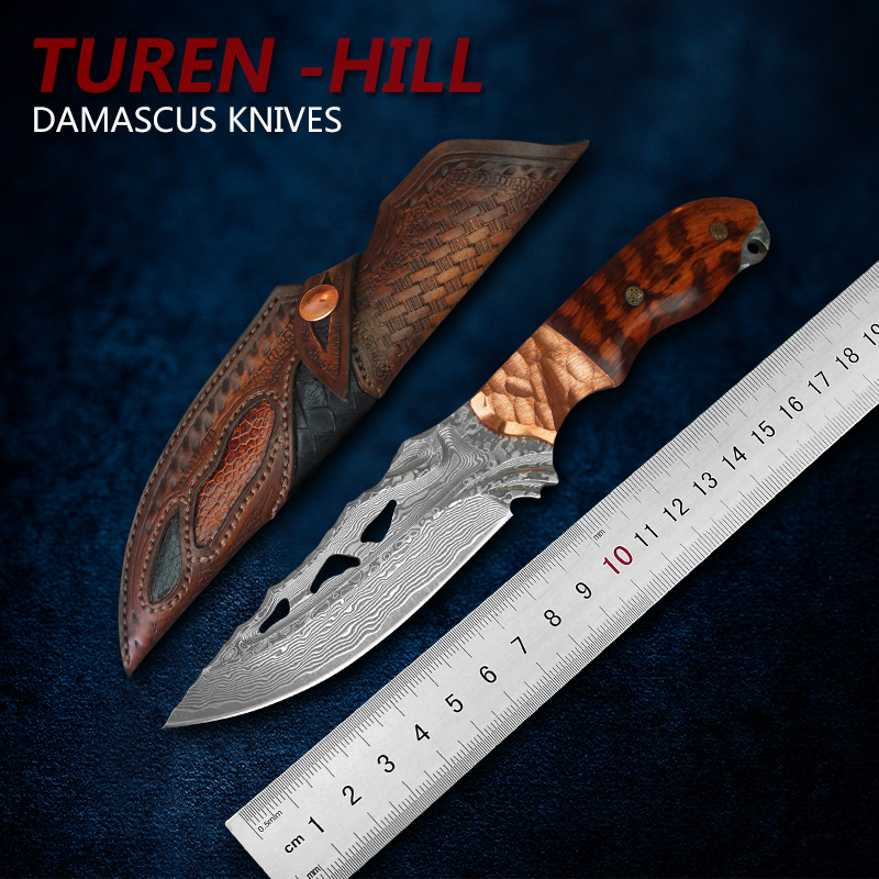 TUREN Full Tang Damascus Steel Fixed Blade Knife Outdoor Hunting Tools Tactical Knives Carved leather Sheath