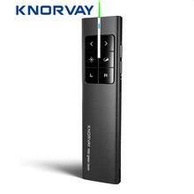 Knorvay N89 2.4GHz bezprzewodowa mysz prezenter z zielony Laser PPT prezentacja bezprzewodowy pilot zdalnego sterowania