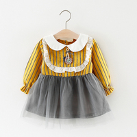 Newborn Baby Girl Birthday Dress Doll Collar Tulle Toddler Christening Infant Princess Striped Lace Flower Clothes