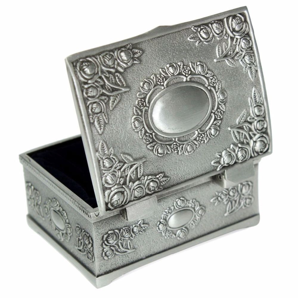 Vintage Jewellery Case Earrings Rings Jewelry Storage Box Zinc-alloy Metal Carved Cosmetic Makeup Organizer Boxes Desktop Decor