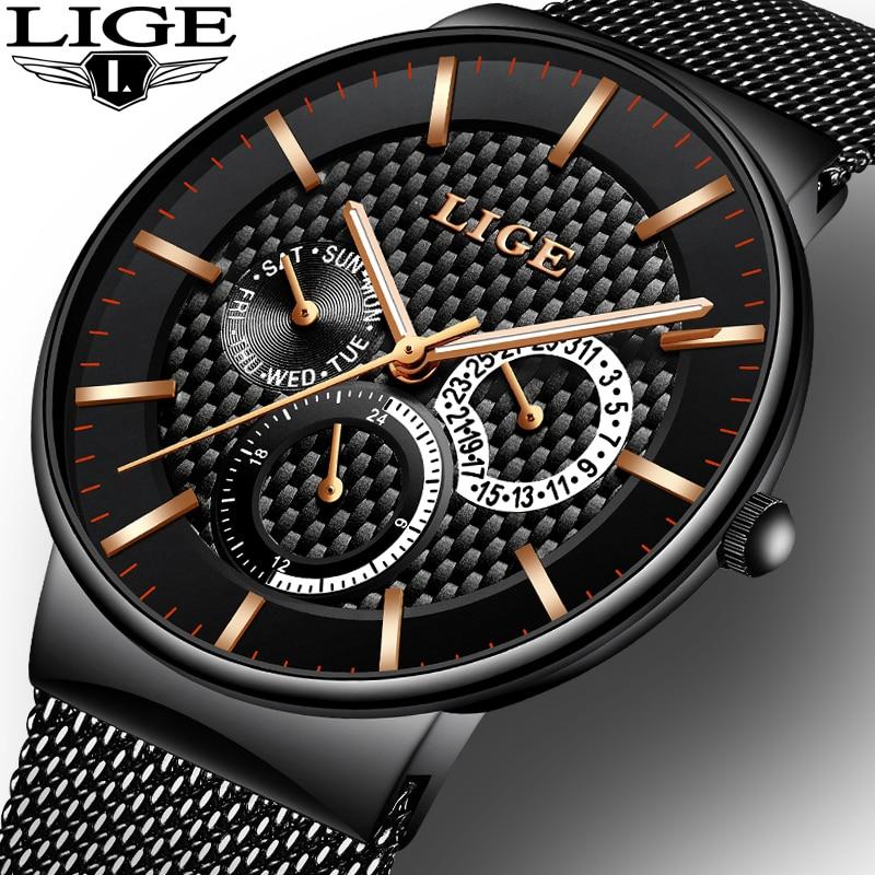 LIGE Mens Watches Top Brand Luxury Fashion Quartz Watch Men Casual Slim Mesh Steel Date Waterproof Sport Watch Relogio Masculino 機械 式 腕時計 スケルトン