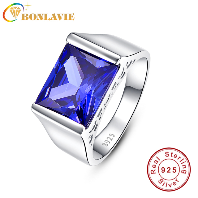 BONLAVIE Fine Jewelry 925 Sterling Silver AAA  CZ Blue Tanzanite Engagement Rings Square Emerald Cut Natural Stone Rings