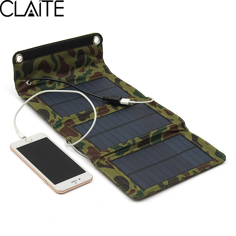 CLAITE 5W 5.5V USB Portable Solar Panel Charger Folding Camping Solar Power Bank For Cellphone MP4 Camera Tablet Battery Charger pudini jc1450 keychain style 1450mah solar powered power bank for cellphone digital camera more
