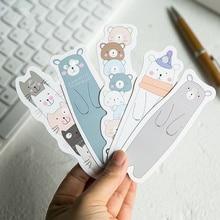 цена на 30 pcs Kawaii animal family bookmarks Cute bears cats bookmarks post card Funny gift Stationery School supplies FC838