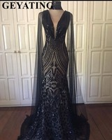 Elegant Long Black Mermaid Arabic Prom Dresses with Cape Sleeves High Neck Keyhole Black Girls Long Graduation Dress Gala Gowns