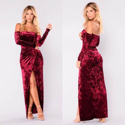 Women Vintage Velvet Off Shoulder Long Sleeve High Spliced Long Dress  Cocktail Bodycon Casual Party Fashion Long Dress 7181ff797a