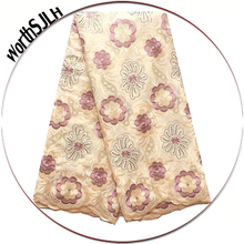 Africa Dry Voile Cotton Lace Fabric Cream Nigerian Fabrics With Stones Teal Green Swiss Latest African 2019 For Dress