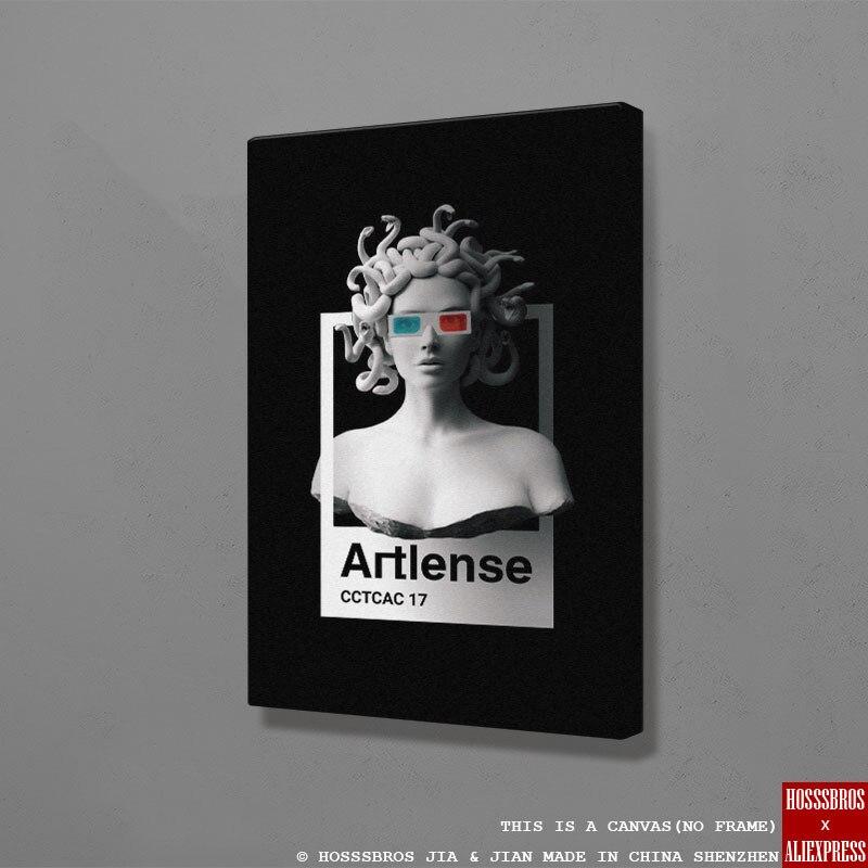 현대 메두사 고르곤 초상화 노르딕 홈 거실 침실 장식 인쇄 포스터 그림 그림 벽 아트 캔버스