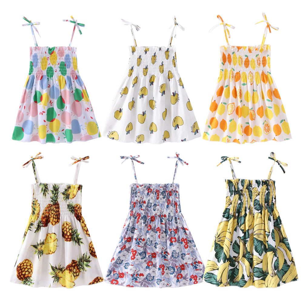 NEW Summer Children Kids Clothing Girls Sleeveless Print Dress Soft Cotton Princess Dresses Girl Clothes Floral Backless Dress