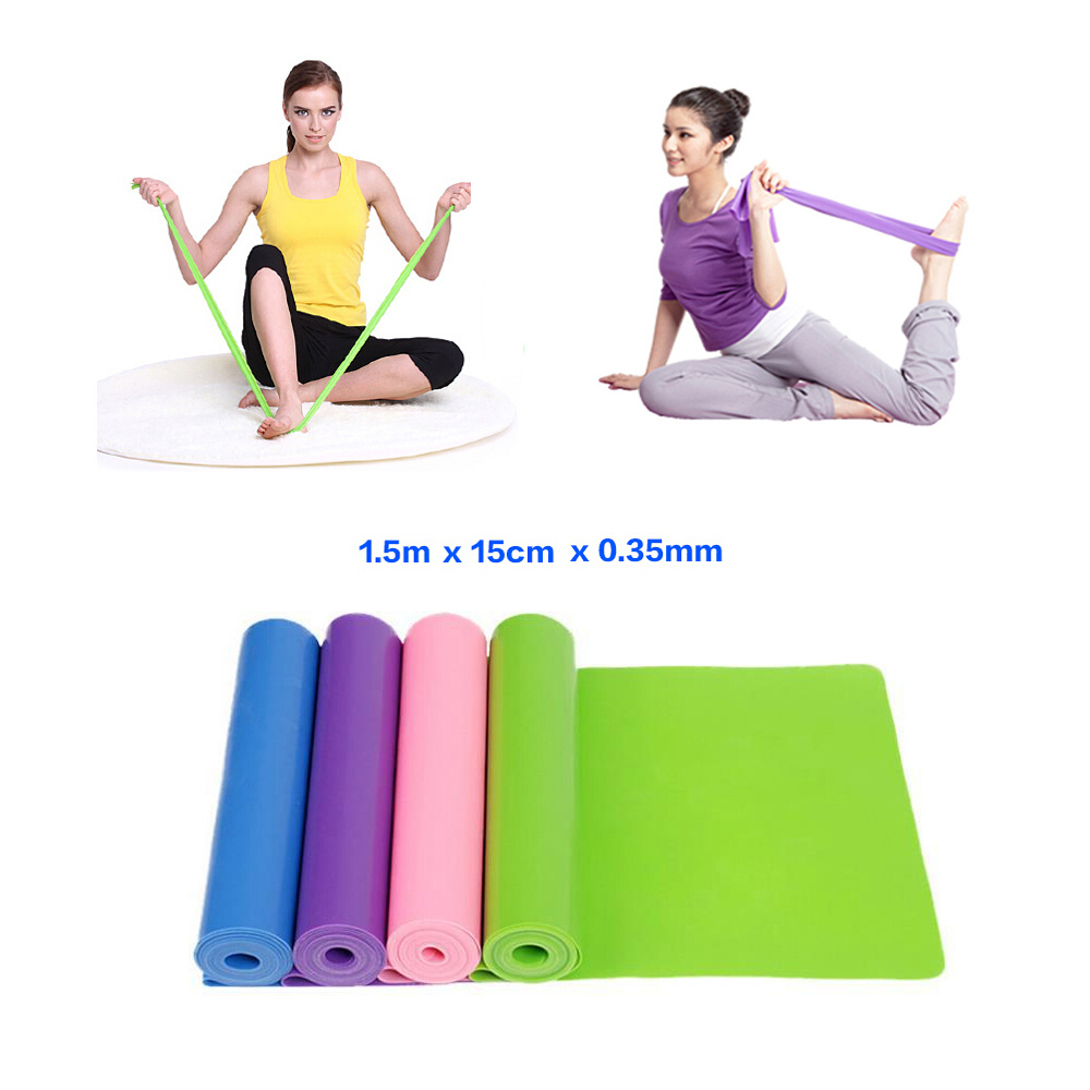 1.5m Yoga Pilates Stretch Resistance Band Exercise Fitness