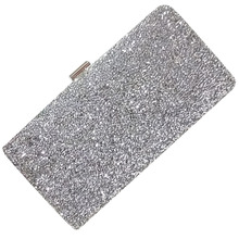 FGGS-Woman Evening bag Women Diamond created Rhinestone Clutch Crystal Day Clutch Wallet Wedding Purse Party Banquet, Silver