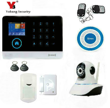 YobangSecurity Wireless Wifi GSM GPRS RFID Home Office Security Burglar Intruder Alarm With Auto Dial Wireless IP Camera Siren yobangsecurity touch keypad wireless wifi gsm home security burglar alarm system wireless siren wifi ip camera smoke detector