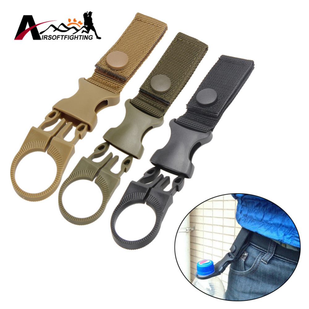 Molle Webbing Water Bottle Carabiner Belt Backpack Hanger Hook Camp Hike Outdoor Hanging Keychain Backpack Key Hook Clip  mini kompas sleutelhanger