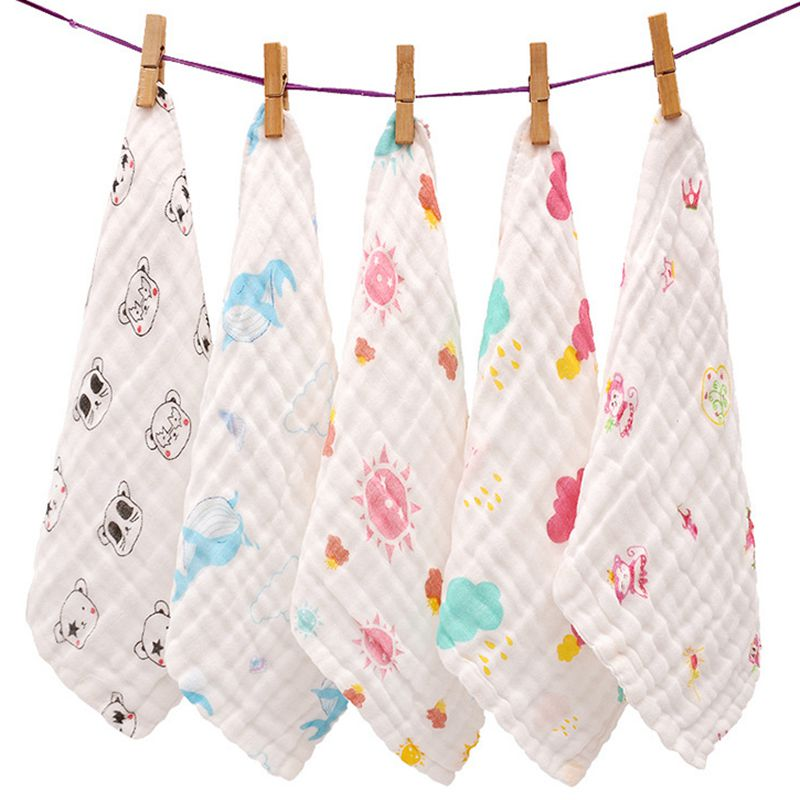 Muslin Baby Towel Newborns  6 Layers Gauze 25*25cm Boys Girl Cotton Bath Saliva Feeding Slobber Towel Kids Handkerchief