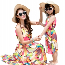 Mother daughter dresses clothing summer colorful Baby Girls Dress Family Matching Outfits women girl holiday long
