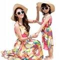 Vestidos de ropa de verano de colores de Los Bebés Del Vestido de madre e hija de La Familia Juego Trajes muchacha de las mujeres de vacaciones vestido largo del chaleco