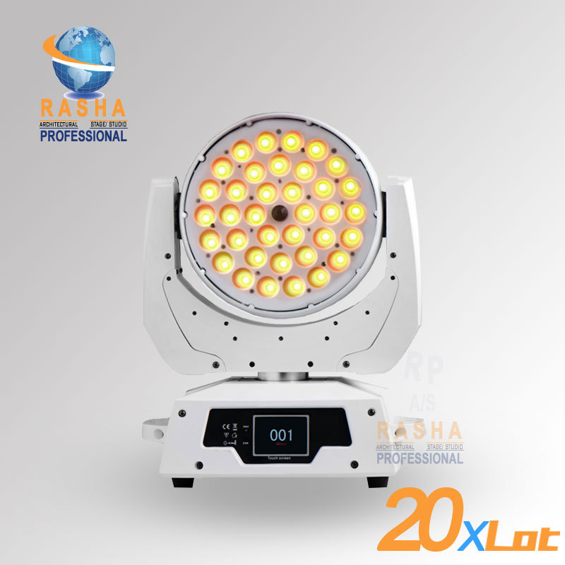 20X LOT White Case 6in1 RGBAW+UV 36pcs Zoom LED Moving Head Wash Light With Touch Screen LCD Diplay,DMX IN&Out,Powercon 110 240V