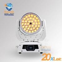 20x много Белый Чехол 6in1 RGBAW + УФ 36 шт. зум LED перемещение головы мыть света с Сенсорный экран ЖК дисплей diplay, DMX в & выход, Powercon 110 240 В