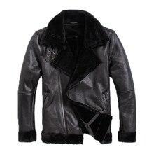 Бесплатная доставка, новая мужская мотоциклетная кожаная куртка s, мужская куртка из натуральной кожи. woo, мех, зимнее теплое пальто из овчины. распродажа