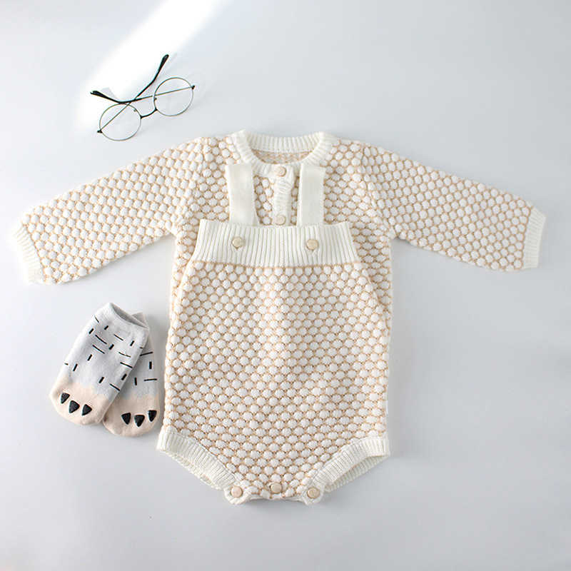88c5534bc2e1 ... Baby Girls Clothes Autumn Baby knitted Romper Set Infant Newborn Baby  Girl Cardigan Boys Sweater Cotton ...
