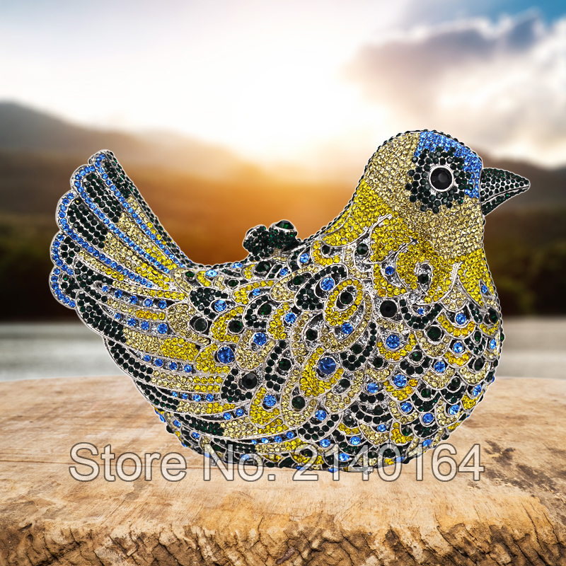 ФОТО new color Animal diamond Women Evening Bag Bird Luxury Crystal Diamond Yellow Clutch Party Prom Bag Ladies evening purse 88166