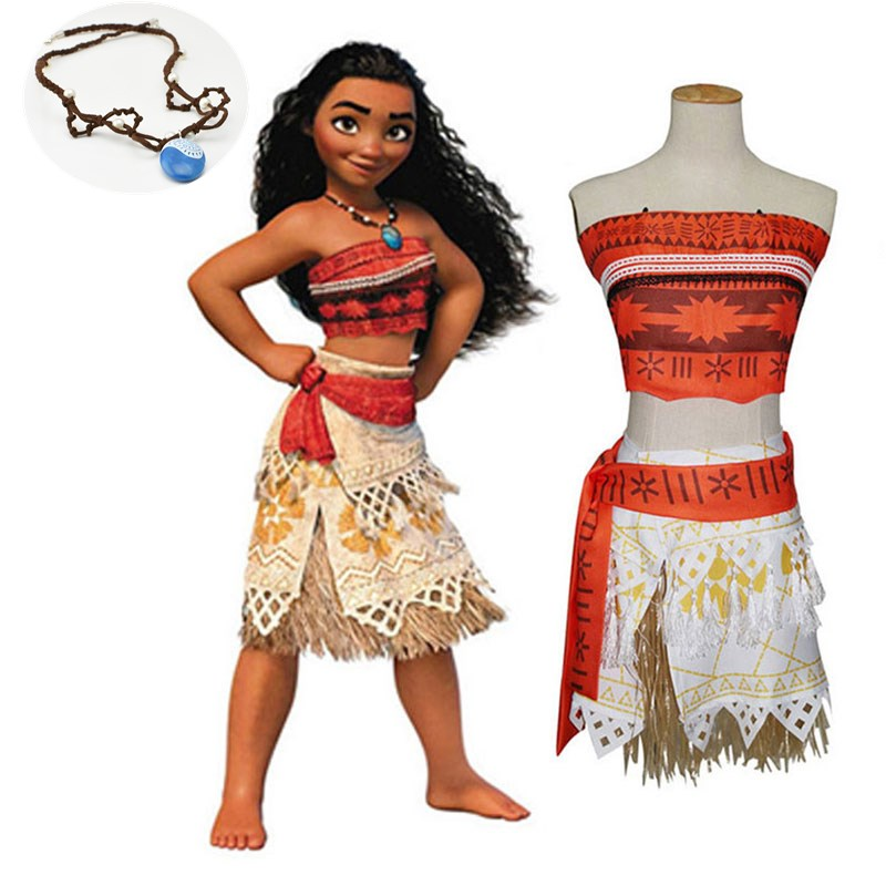 Movie Princess Moana Costume for Kids or Adult Moana Princess Dress Cosplay Costume Children Halloween Costume Free Necklace
