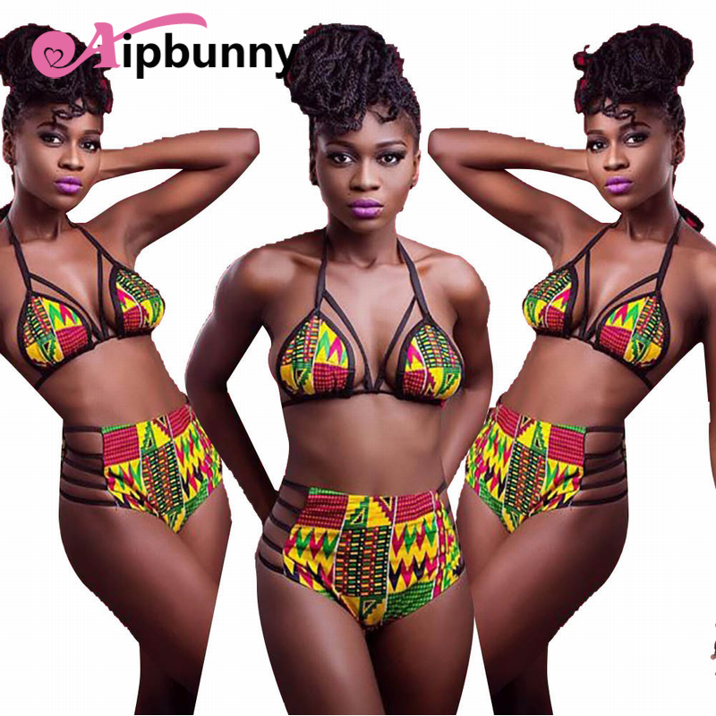 Aipbunny 2018 High Waisted African Bikinis Women Swimwear Swimsuit Push Up Bikini Set Halter Top Beach Bathing Suits Swim Wear