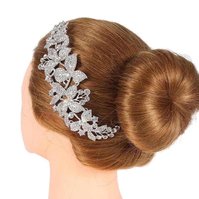 エレガントな巨大な結婚式の髪櫛花嫁クリスタルラインストーンパール女性ヘアピンブライダルかぶと髪の宝石アクセサリー