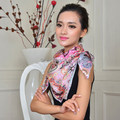 2014 new famous brand desigual high quality floral printed large square blue womenautumn100% pure silk scarf 90*90cm SK104