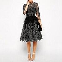 Women Vintage Party Dress Summer Autumn Lace Enmbroidery Ball Gown Floral Short Sleeve Elegant High Waist Pary Dresses