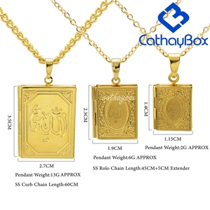 Image 2 - Ramadan Gift Koran Book Locket Necklace Gold Tone Islamic God Allah Quran Charm Pendant Jewelry For Muslim Hot Sale