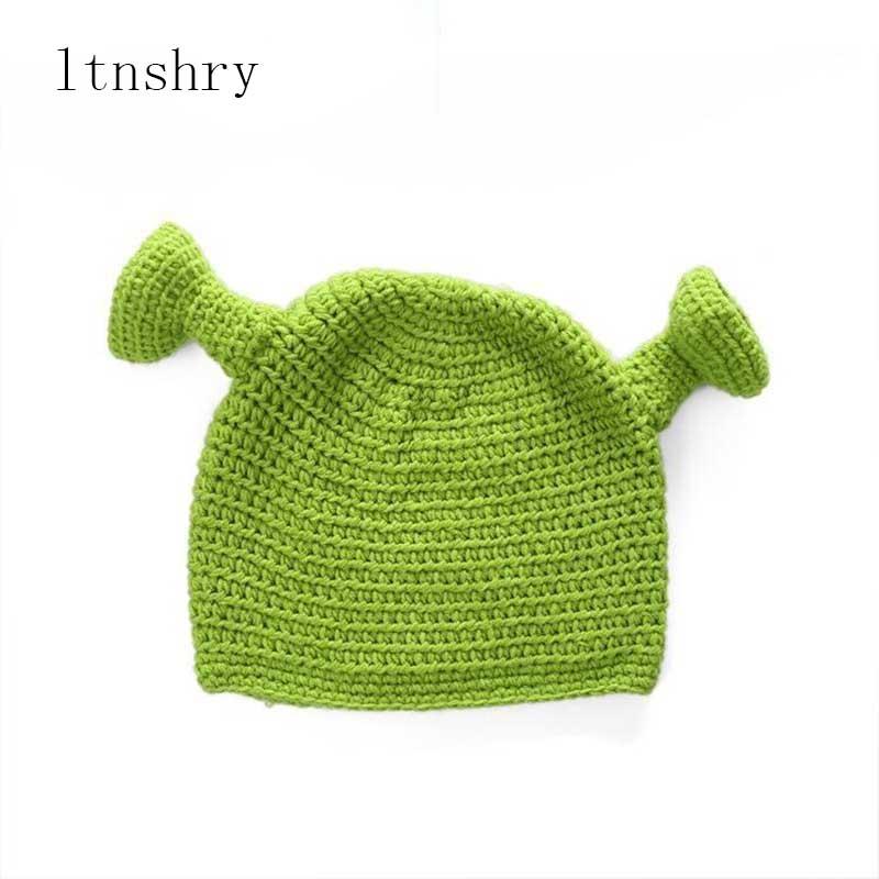 winter hats for women balaclava Cartoon monster Shrek wool hat creative Funny knitted hat pure hand winter cap men hat in Men 39 s Skullies amp Beanies from Apparel Accessories